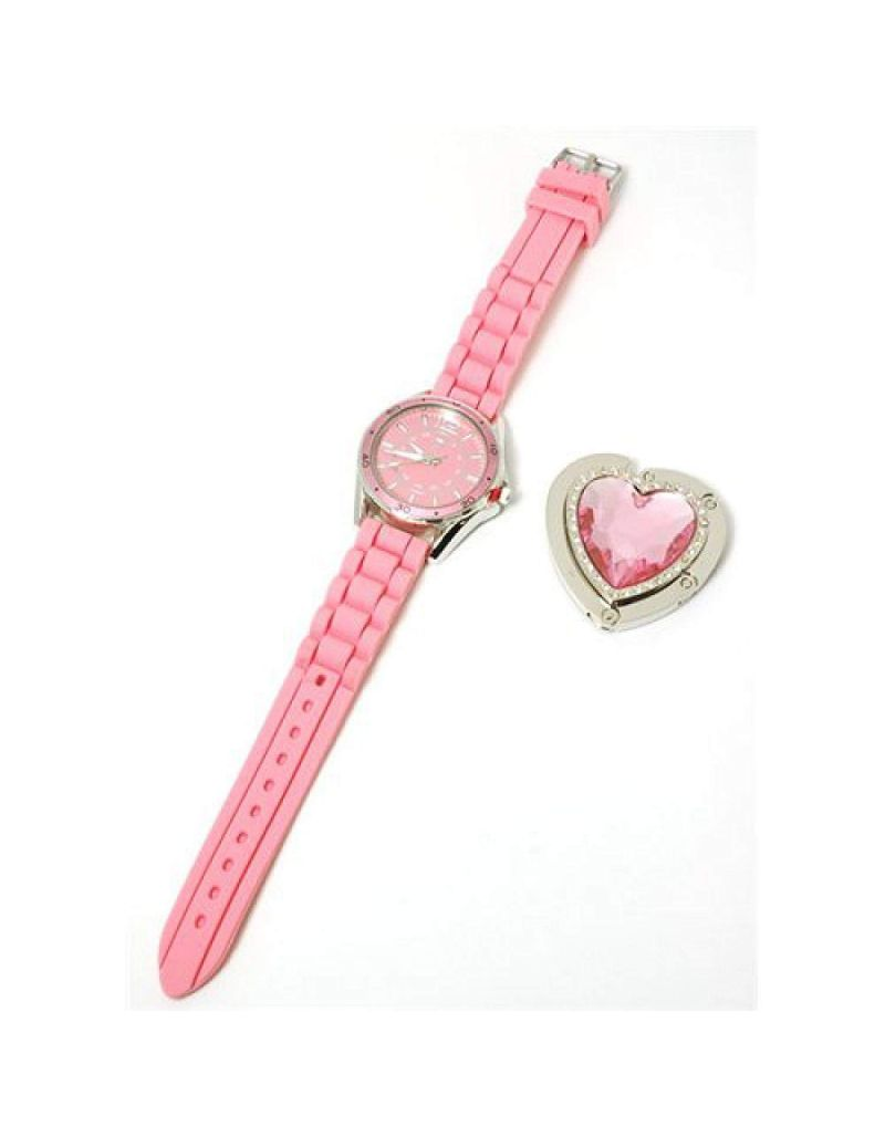 Paris Hilton Pink Strap Ladies Fashion Watch and Heart Handbag Holder HWX002B