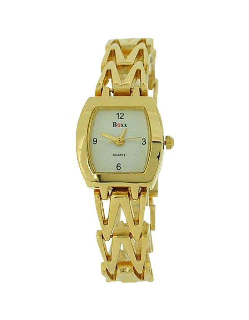 Boxx Analogue Goldtone Metal Bracelet Strap Ladies Dress Watch 4613