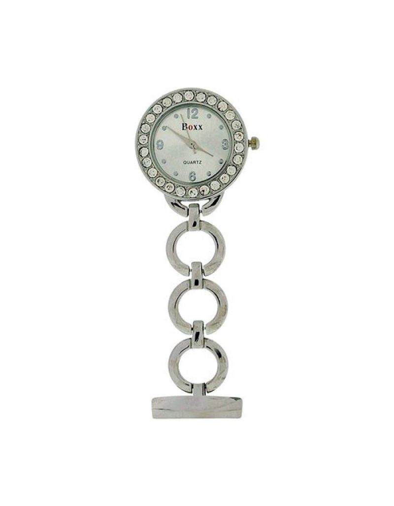 Boxx Glamour Silver Tone Round Open Link Professional Fob Watch BOXX11
