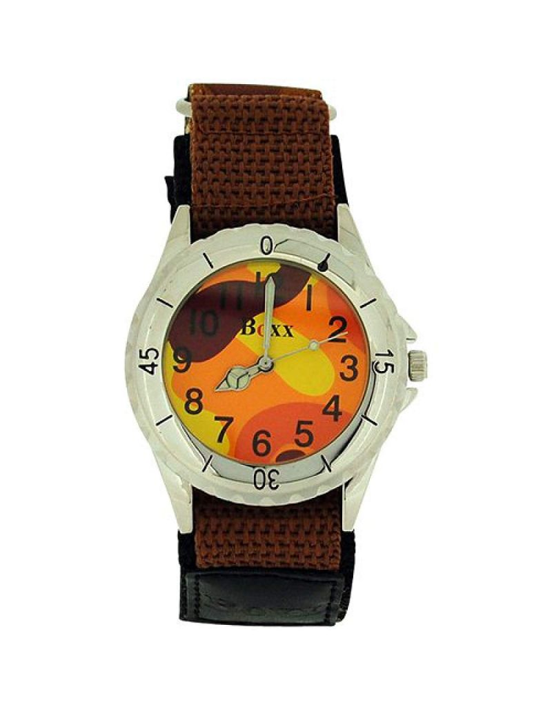 Boxx Brown Army Camouflage Easy Fasten Strap Boys Sports Watch