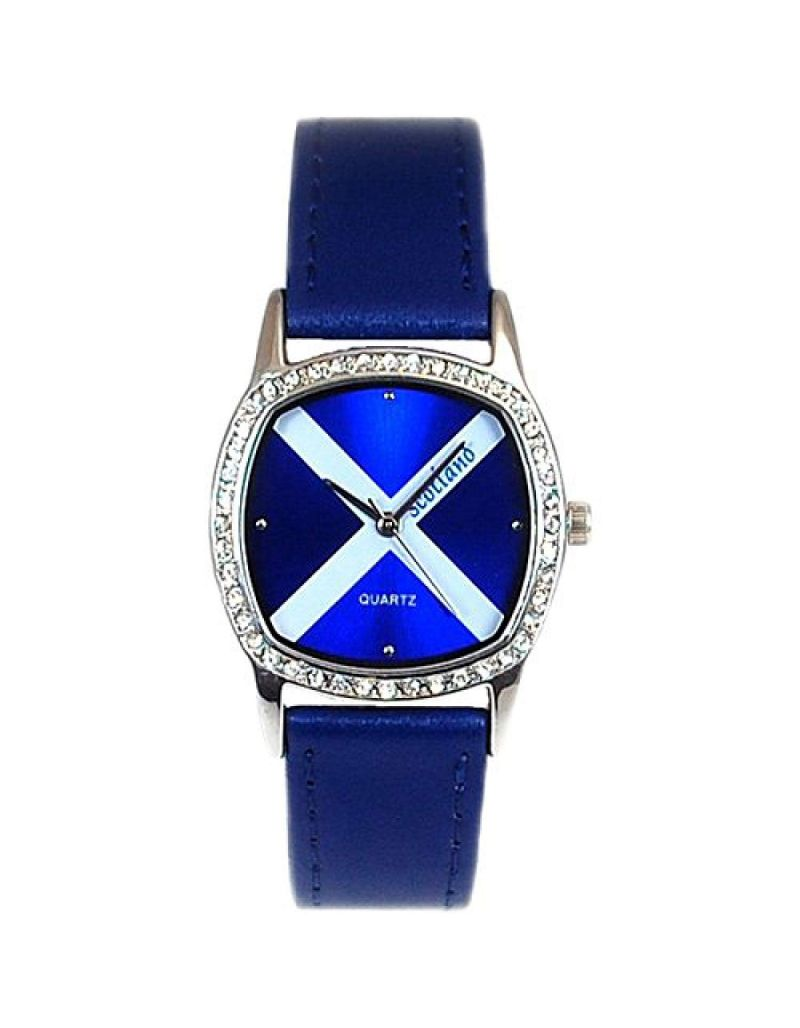 Boxx Analogue Scotland Scottish Flag Blue Leather Strap Ladies Dress Watch