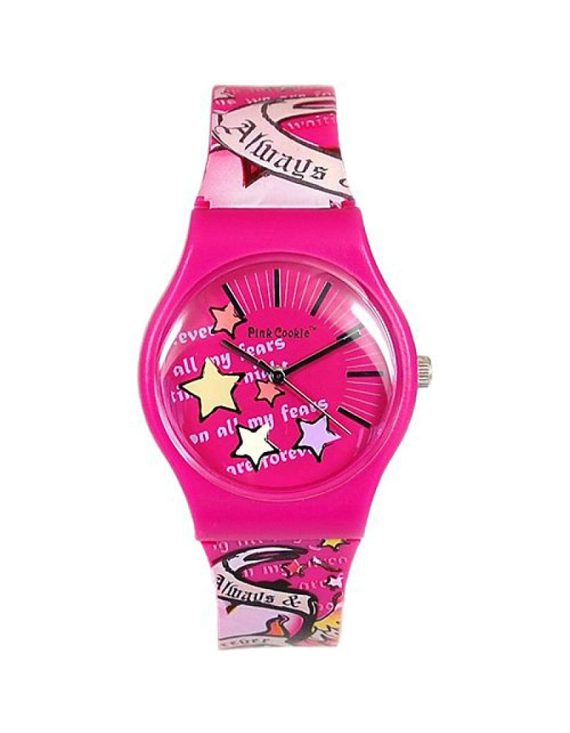 Pink Cookie Ladies-Girls Analogue Pink Motiff Design PU Strap  Watch PCL-0019