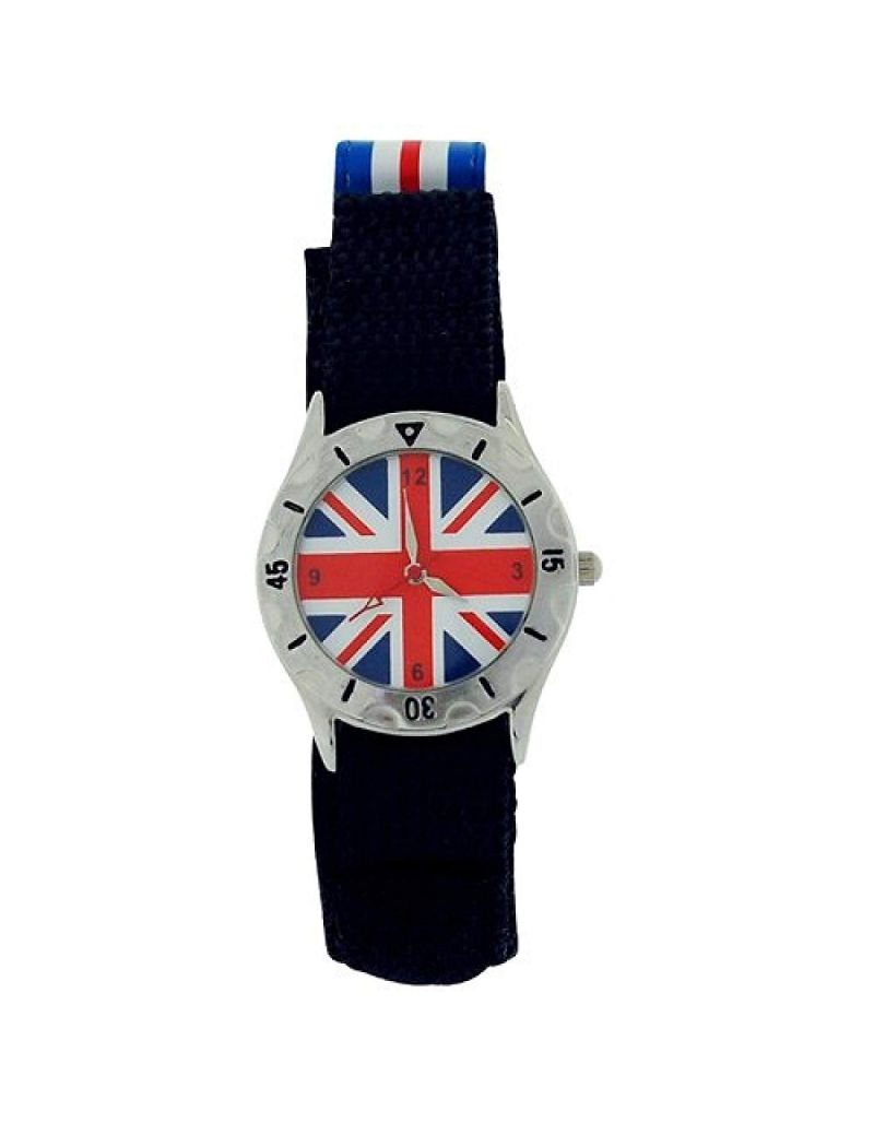 England Union Jack Quartz Luminous Hands Easy Fasten Adjustable Strap Boys Watch