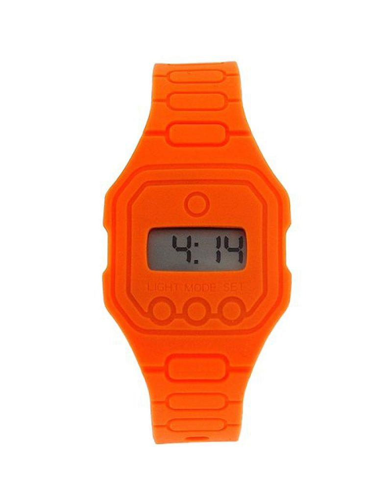 Pixelmoda Unisex Digital With Backlight Orange Trendy Flat Silicone Strap Watch