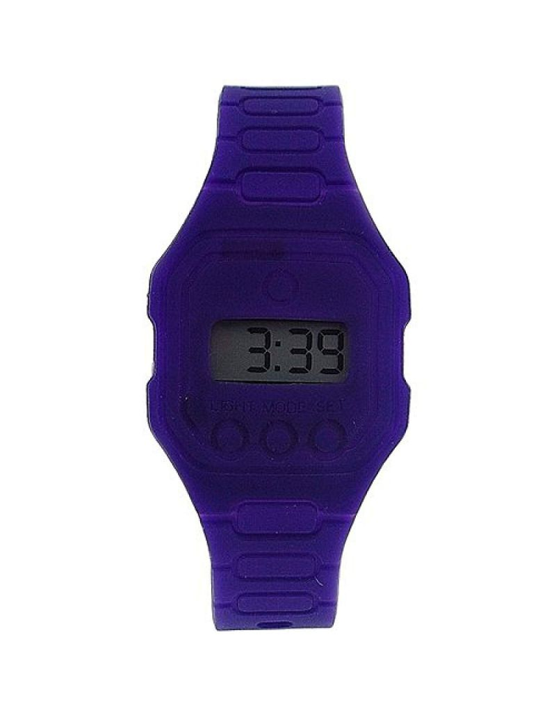 Pixelmoda Unisex Digital With Backlight Purple Trendy Flat Silicone Strap Watch