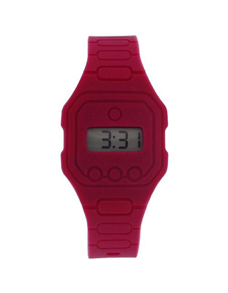 Pixelmoda Unisex Digital With Backlight Magenta Trendy Flat Silicone Strap Watch
