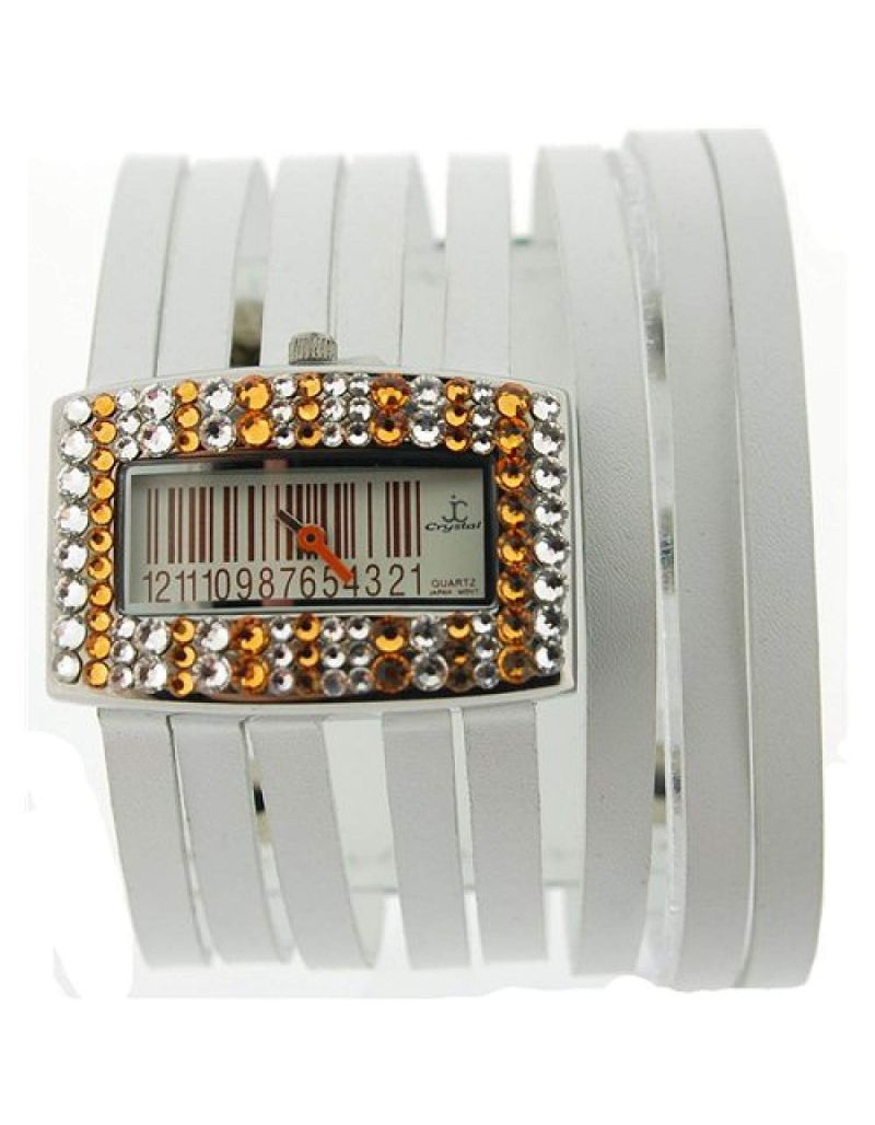 Jimmy Crystal Topaz Barcode Dial Made with Swarovski Crystals White Thong Fashion Watch