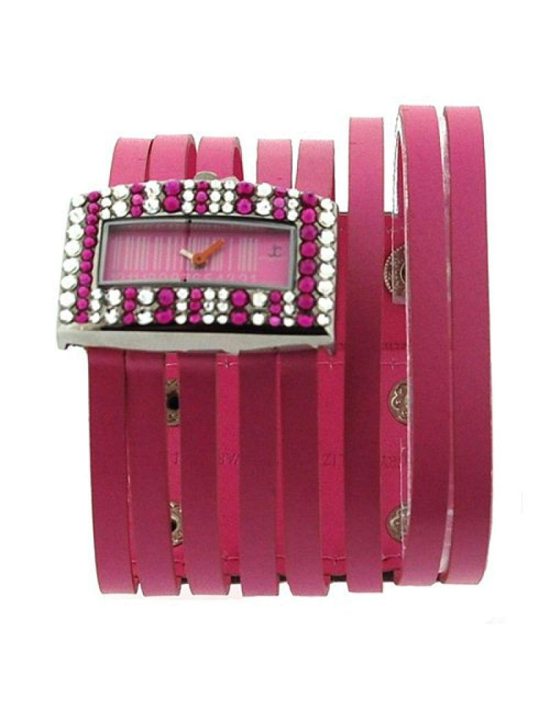 Jimmy Crystal Barcode Dial made with Pink Swarovski Crystals Pink Thong Fashion Strap Watch