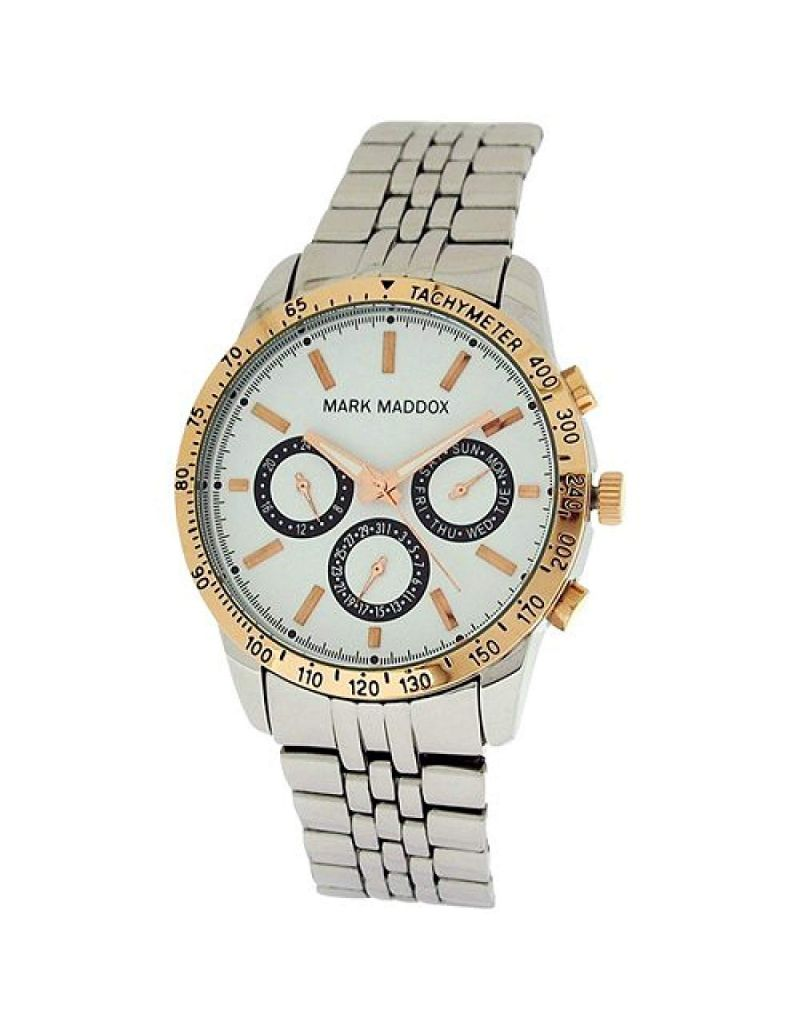 Mark Maddox Gents White Multifunction Dial & Bracelet Strap Watch HM0004-07