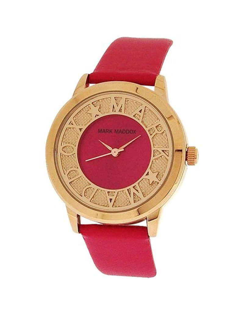 Mark Maddox Ladies Fancy Goldtone Pink Analogue Dial PU Strap Watch MC0005-70