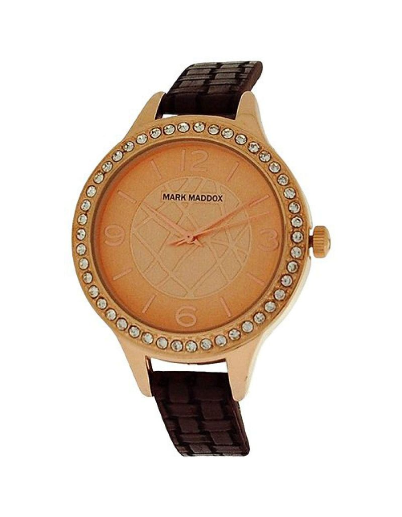 Mark Maddox Ladies Rose-Goldtone Analogue Dial Brown PU Strap Watch MC6001-25