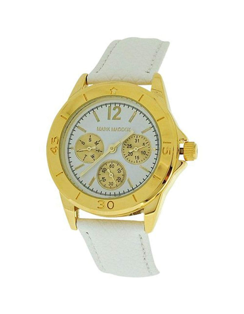 Mark Maddox Ladies Multifunction Dial White PU Design Strap Watch MC3014-05
