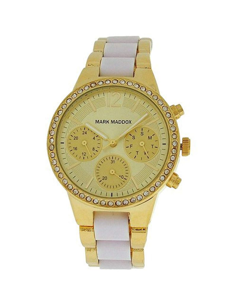 Mark Maddox Ladies Multifunction Goldtone Dial Bracelet Strap Watch MP6002-25