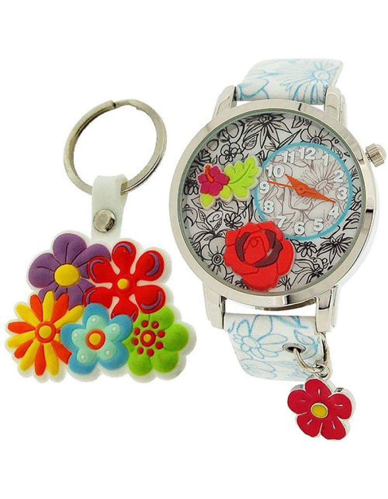Time Design Girls 3D Design Dial Analgoue Watch Charm & Keyring Gift Set TDX4526