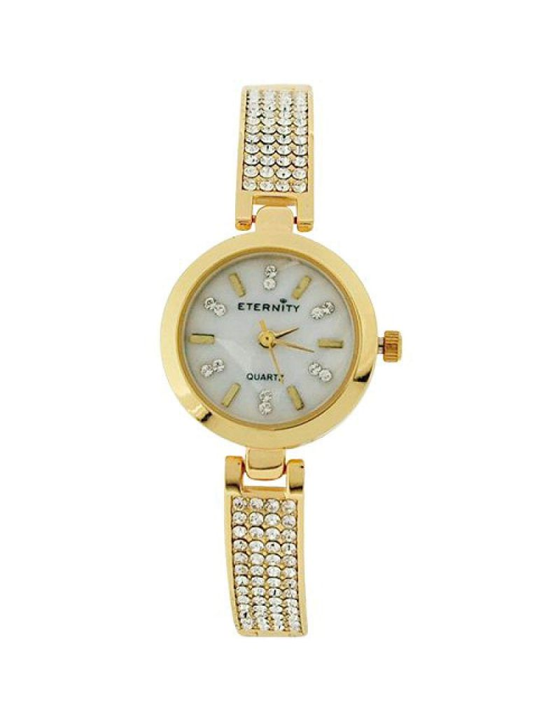Eternity Ladies Watch made with Swarovski Crystals MOP Dial Goldtone Bracelet Strap ET74B