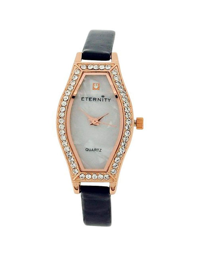 Eternity Ladies Watch made with Swarovski Crystals MOP Dial Black PU Strap ET70B