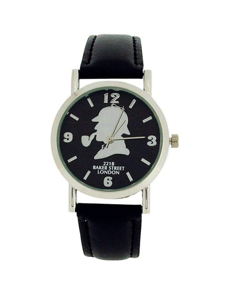 The Sherlock Holmes Baker Street Gents Black Dial Black PU Strap Watch BAK01B