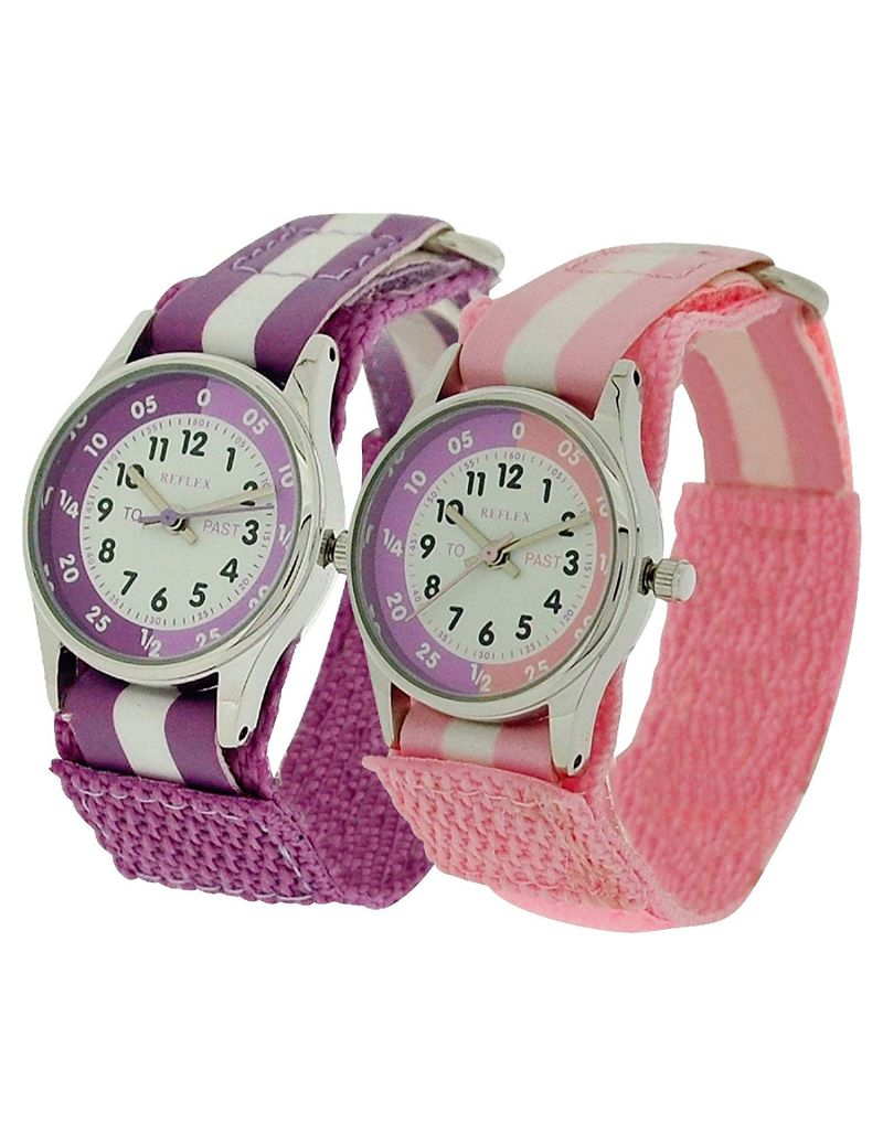 2 X Reflex Time Teacher Lilac / Pink Easy Fasten Girls Children Kids Watch Gift