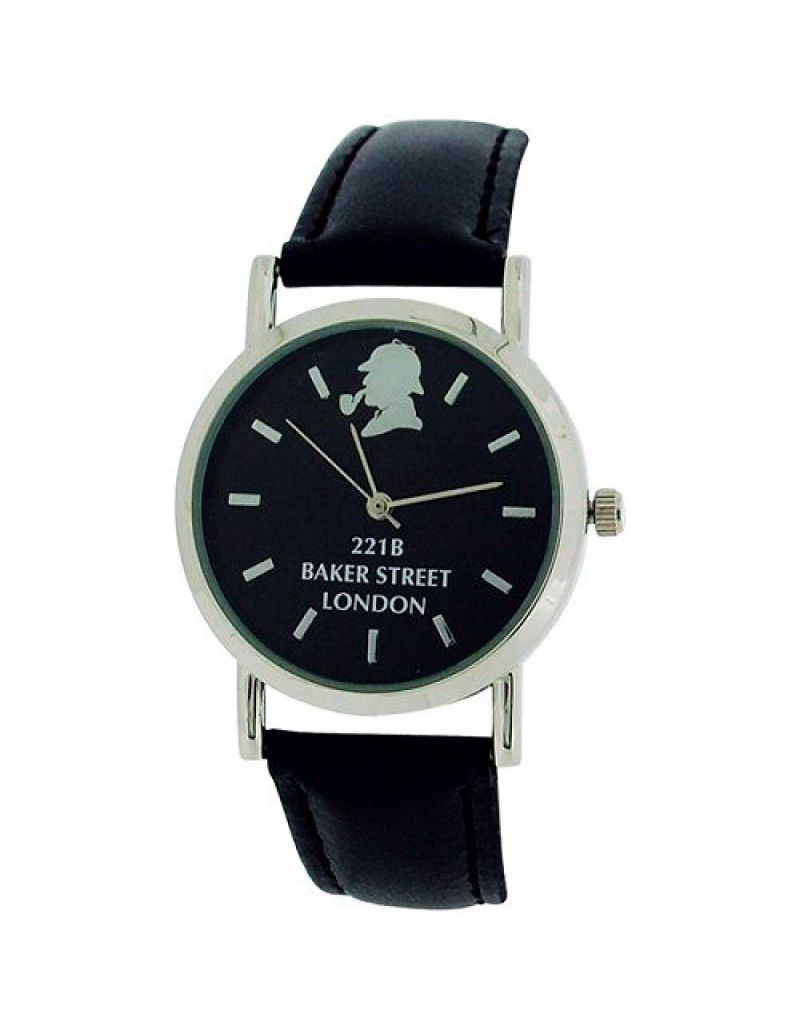 The Sherlock Holmes Baker Street Gents Black Dial Black PU Strap Watch BAK01A