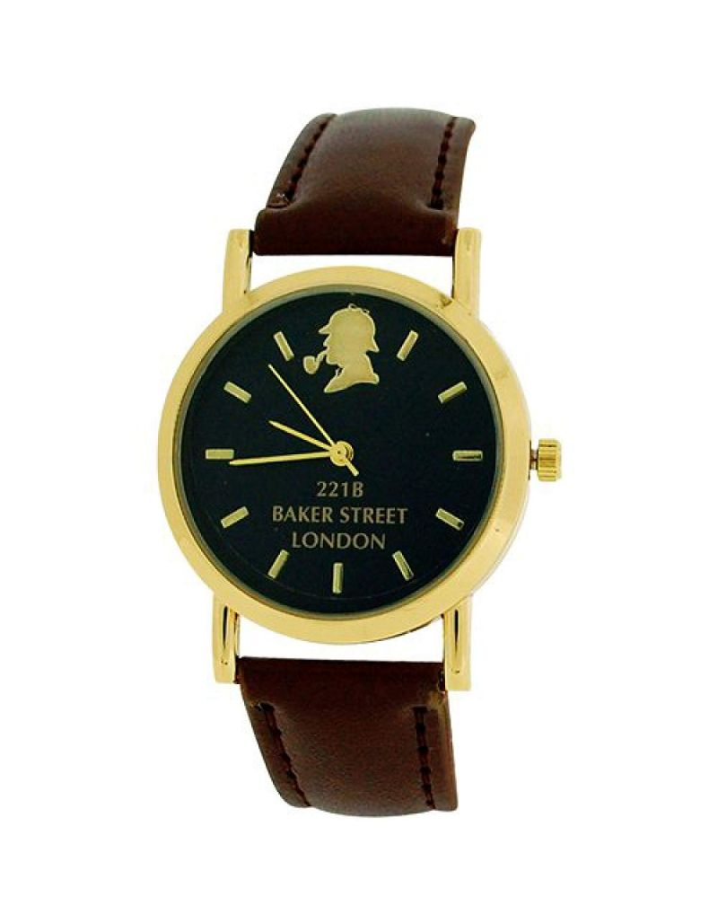 The Sherlock Holmes Baker Street Gents Black Dial Brown PU Strap Watch BAK01C