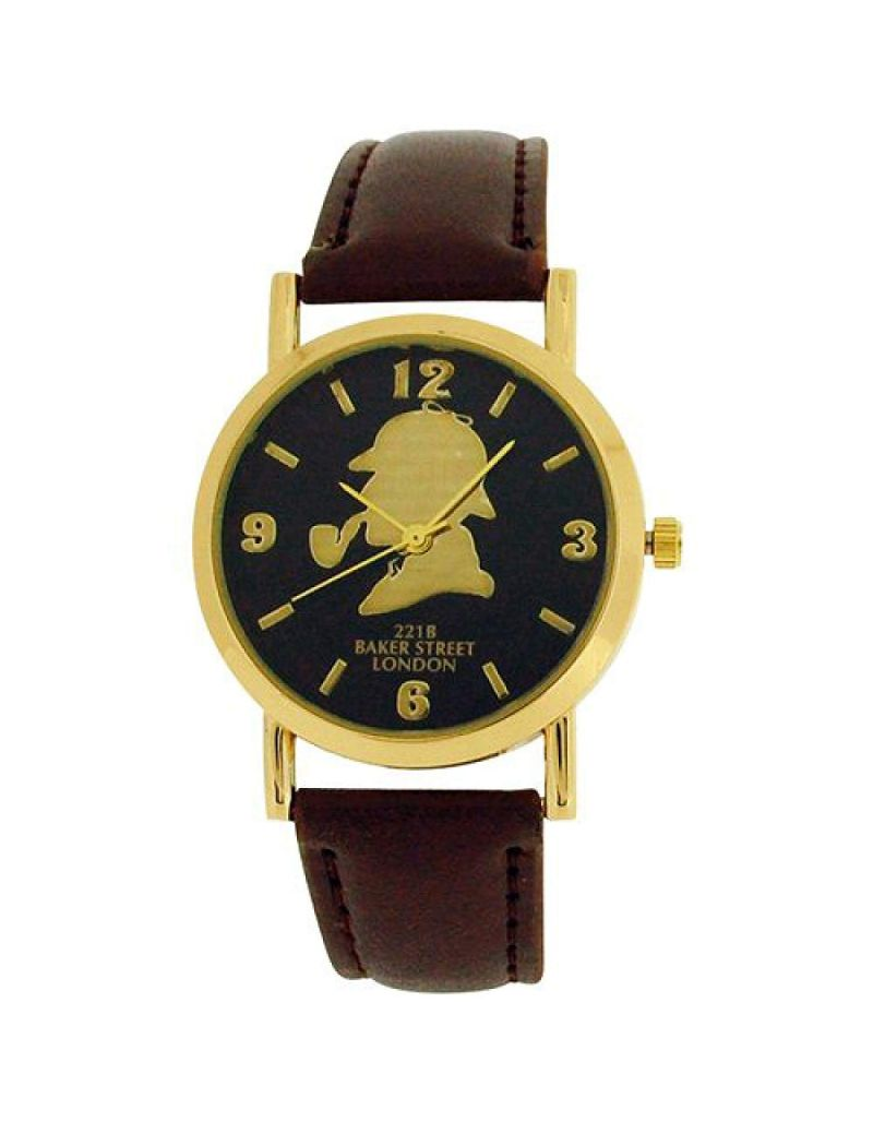 The Sherlock Holmes Baker Street Gents Black Dial Brown PU Strap Watch BAK01D