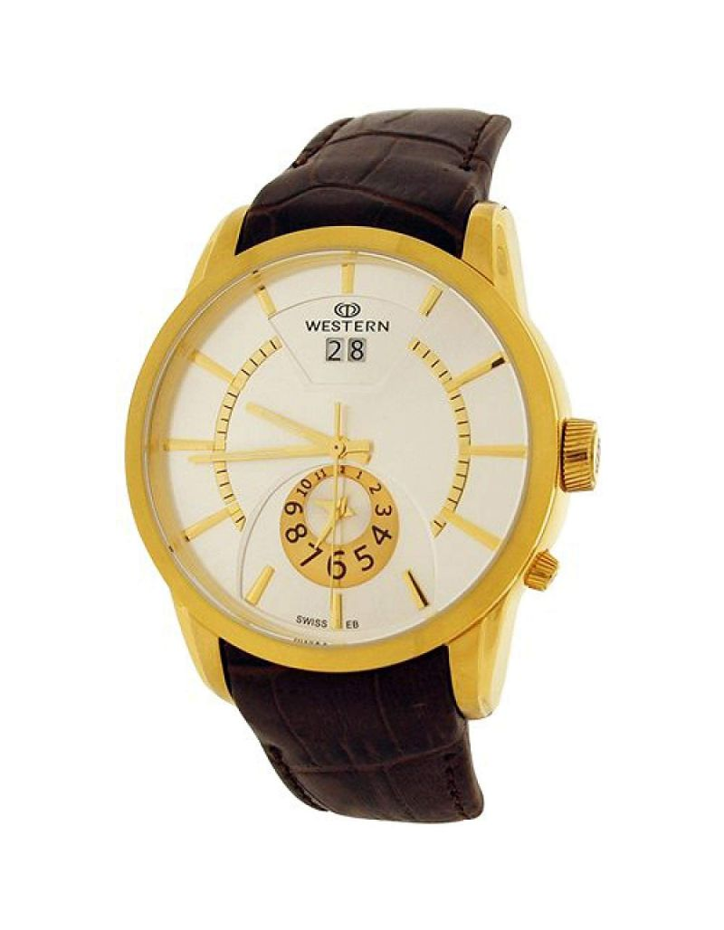 Western Moments Vinten Gents Analgoue Date Dual Time Brown Leather Smart Watch