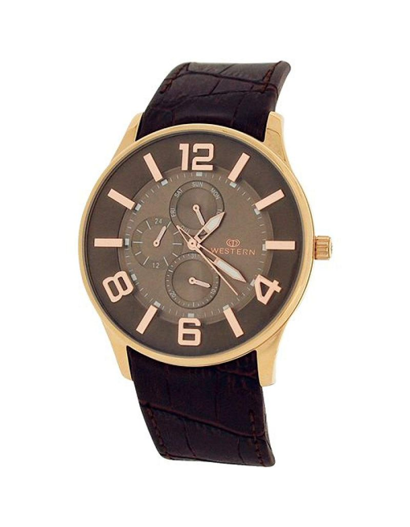 Western Moments Ajax Gents Analgoue Multi-Function Brown Leather Smart Watch