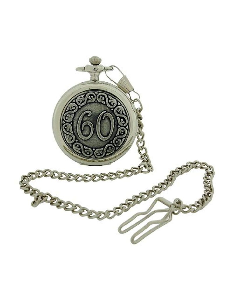 "Boxx ""Happy 60th Birthday"" White Dial Silvertone Gents Pocket Watch BOXX373"