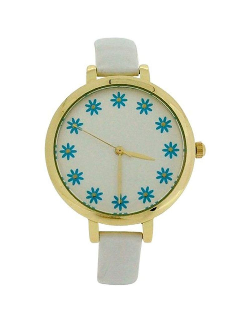 Elizabeth Rose Ladies Analogue Flower Dial Cream PU Strap Watch ELZ10A