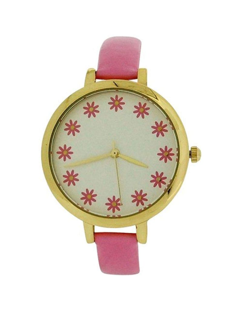 Elizabeth Rose Ladies Analogue Flower Dial Pink PU Strap Watch ELZ10B