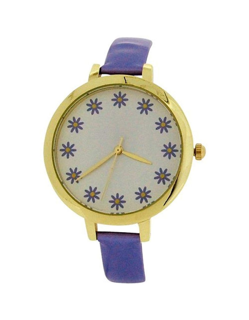 Elizabeth Rose Ladies Analogue Flower Dial Lilac PU Strap Watch ELZ10C