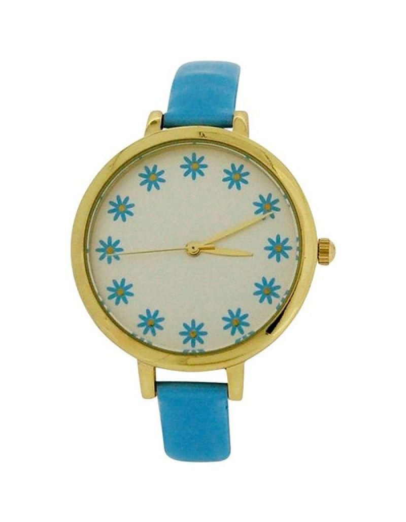 Elizabeth Rose Ladies Analogue Flower Dial Light Blue PU Strap Watch ELZ10D