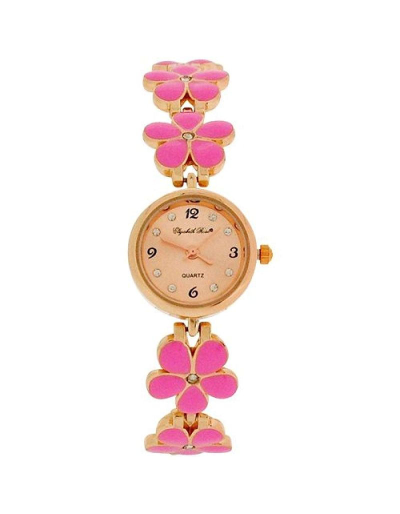 Elizabeth Rose Ladies Rose Goldtone Pink Flower Bracelet Strap Watch ELZ17B