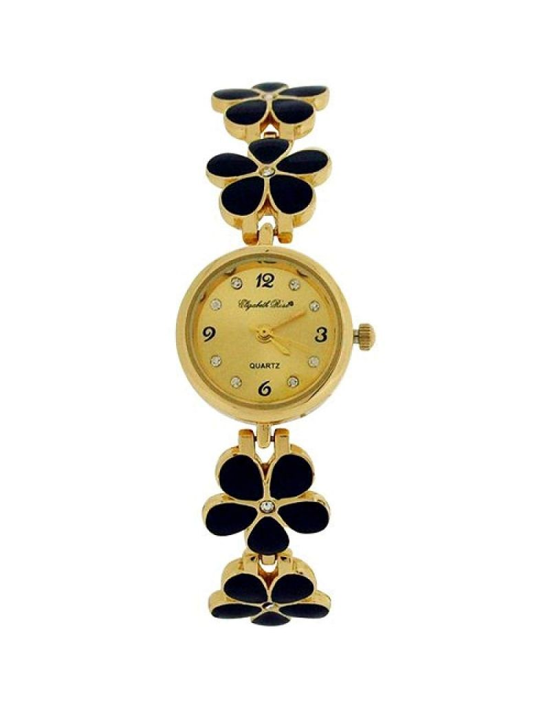 Elizabeth Rose Ladies Goldtone Black Enamel Flower Bracelet Strap Watch ELZ17C
