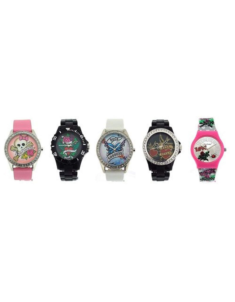 Pink Cookie Ladies-Girls Analogue Pink - White - Black Set of 5 Watches