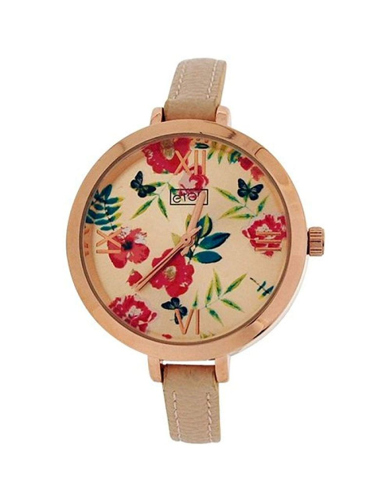 Eton Ladies Analogue Rose Goldtone Floral Dial Beige PU Strap Chrome Watch 3238L