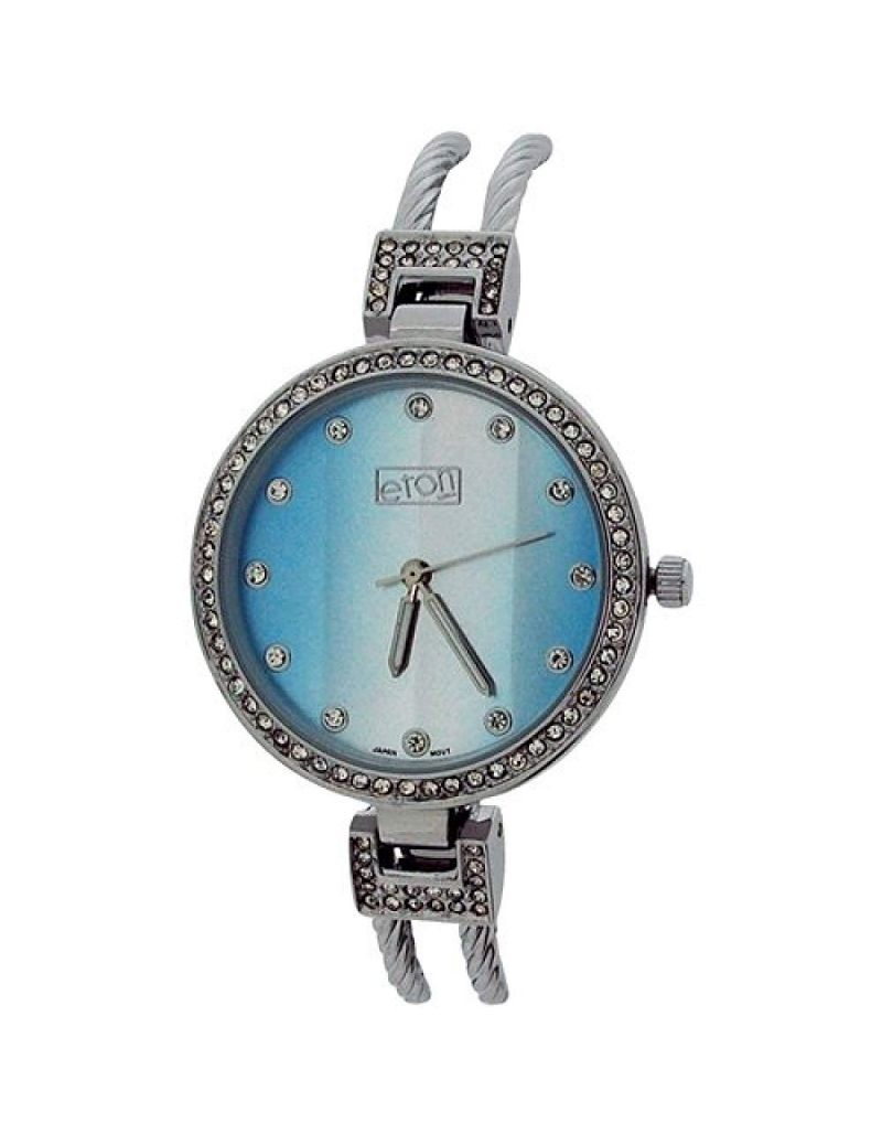 Eton Ladies Analogue Clear Rhinestone Chrome Silvertone Cable Bangle Watch 3259L