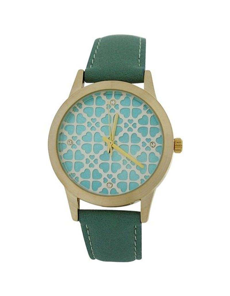 Anaii Pink Acacia Ladies Goldtone Heart Textured Dial Green PU Strap Watch AP789