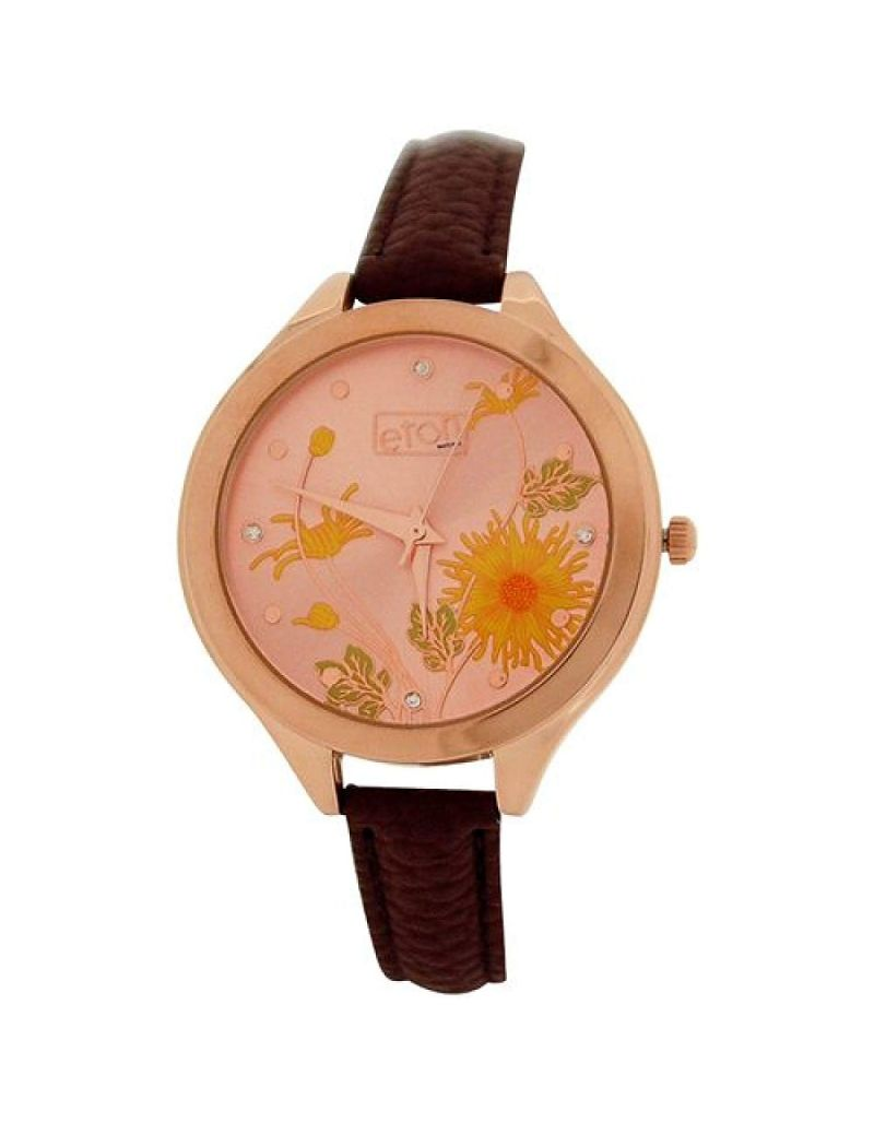 Eton Ladies Analogue Rose Goldtone Floral Dial Brown PU Strap Buckle Watch 3266L