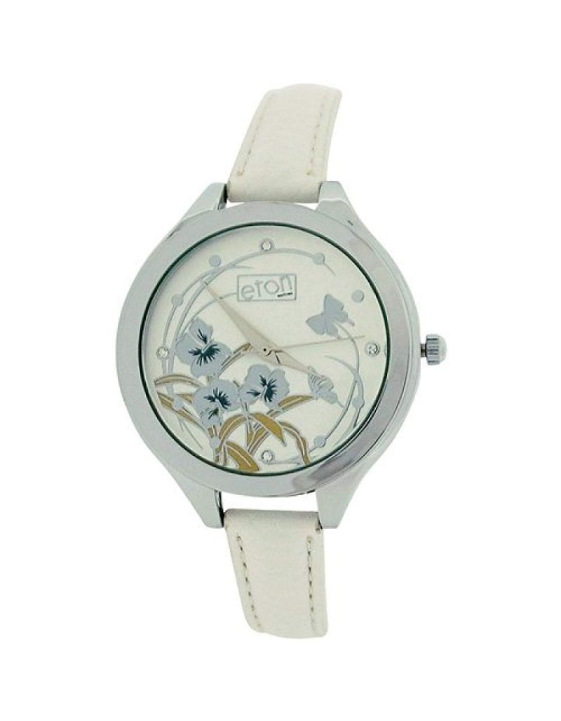 Eton Ladies Analogue Floral Dial Chrome Finish White PU Strap Buckle Watch 3267L