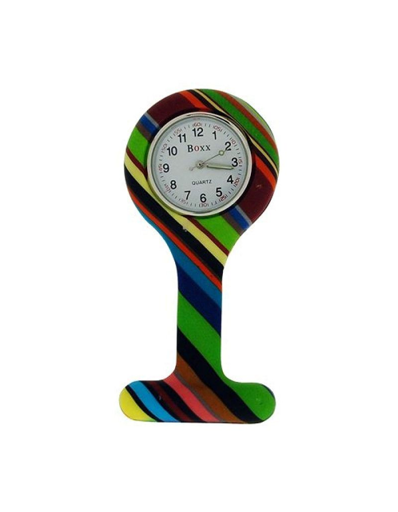 Boxx Analogue Display Funky Rainbow Design Silicone Nurses Fob Watch Boxx380
