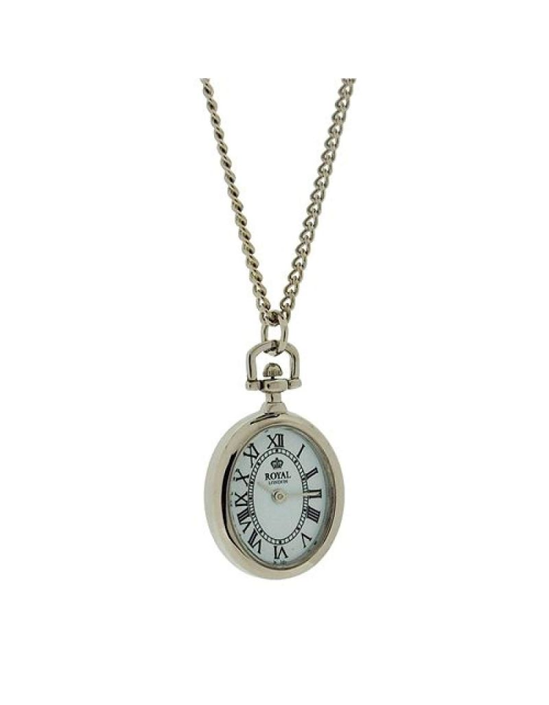 """Royal London Ladies Open Faced Silvertone Pendant Watch Necklace On 26"""" Chain"""