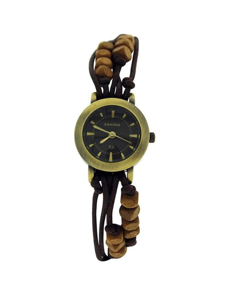 - Lot of 10Pcs- Kahuna Ladies Brown String Bead Bracelet Toggle Watch KLF-0008L