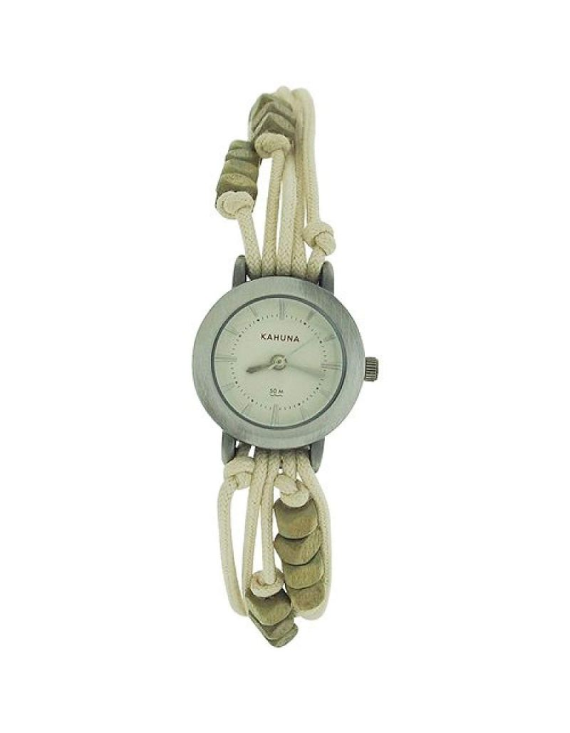 - Lot of 10Pcs- Kahuna Ladies Beige String Bead Bracelet Toggle Watch AKLF-0005L