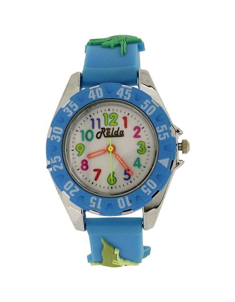 Relda Analogue Childrens Boy's 3D Dinosaur Light Blue Silicone Strap Watch REL82