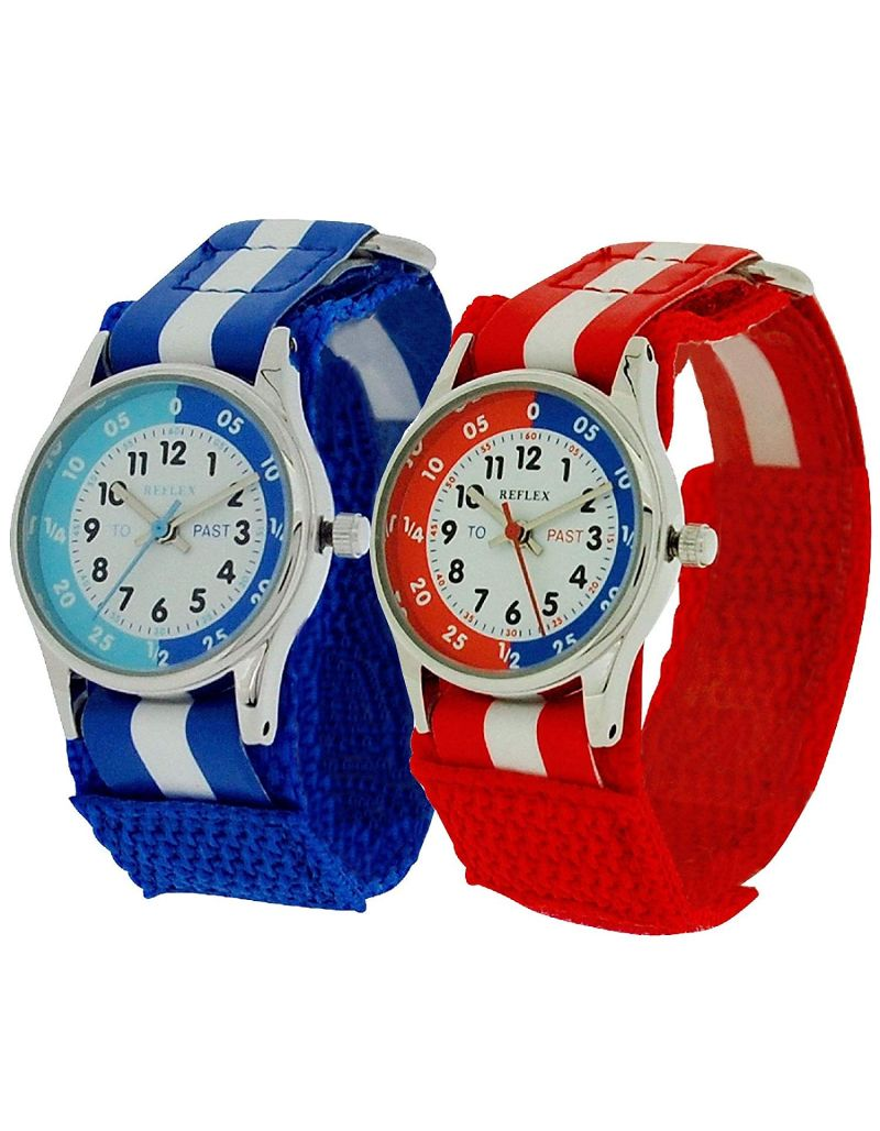 2 X Reflex Time Teacher Blue / Red Easy Fasten Kids Watch + Telling Time Award