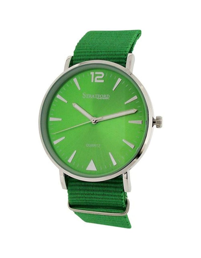 Stratford Unisex Large Green Dial & Green Nylon Buckle Strap Watch STF104D