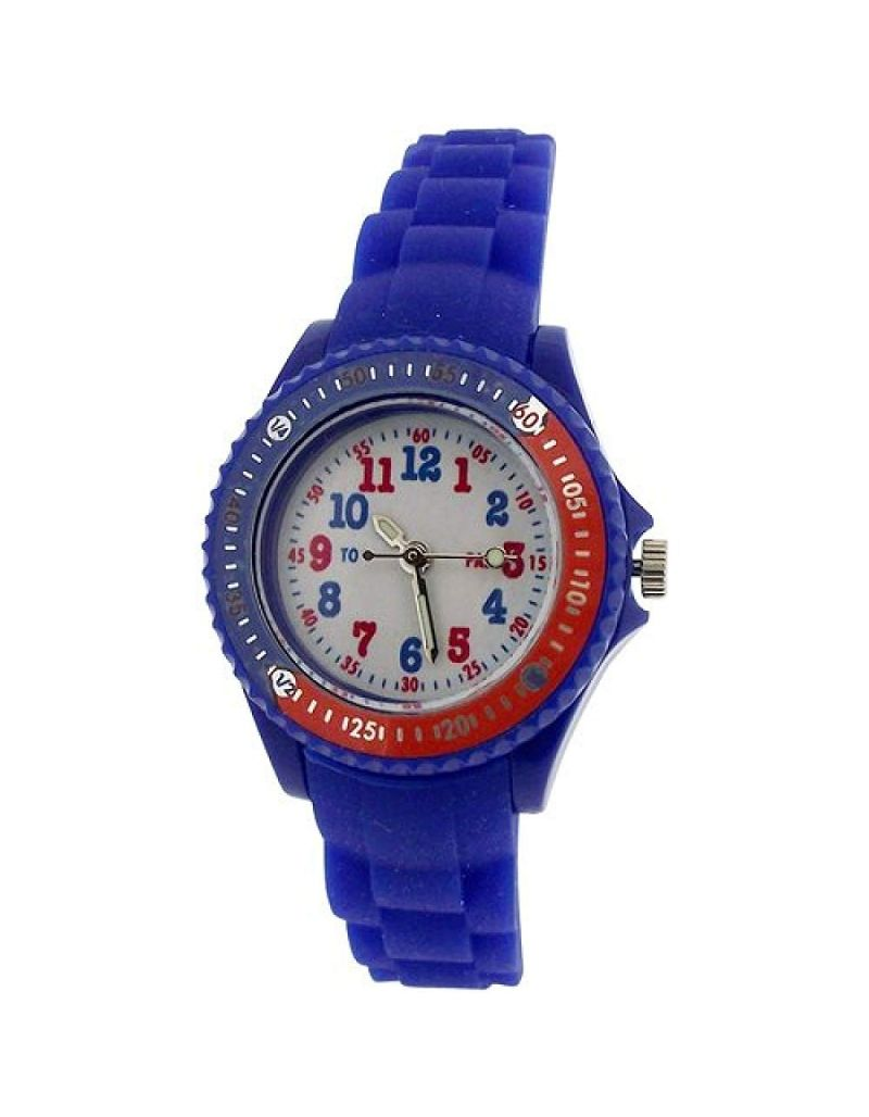 Citron Analogue Boys-Girls White Dial Rotating Bezel Silicone Strap Watch KID118