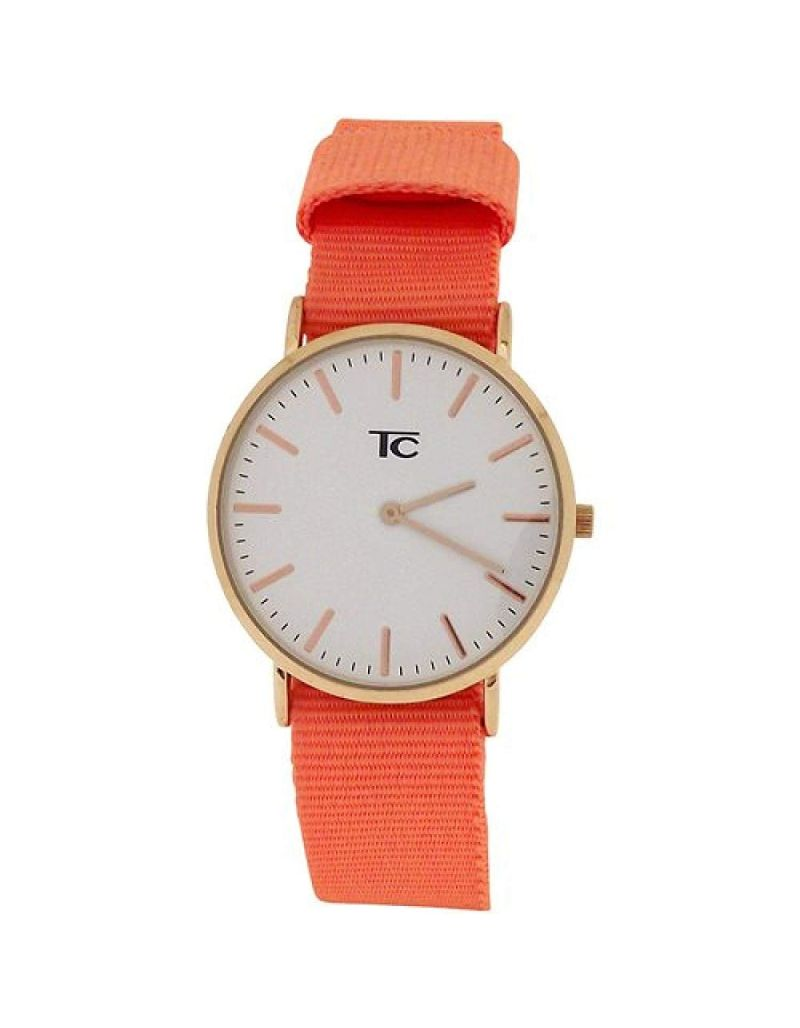 Tom Carter Ladies White Dial Rosetone Stainless Steel Peach Nylon Strap Watch