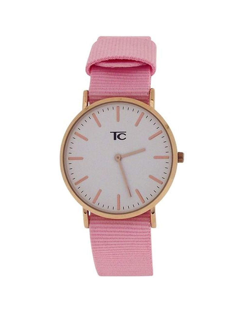 Tom Carter Ladies White Dial Rosetone Stainless Steel Pink Nylon Strap Watch